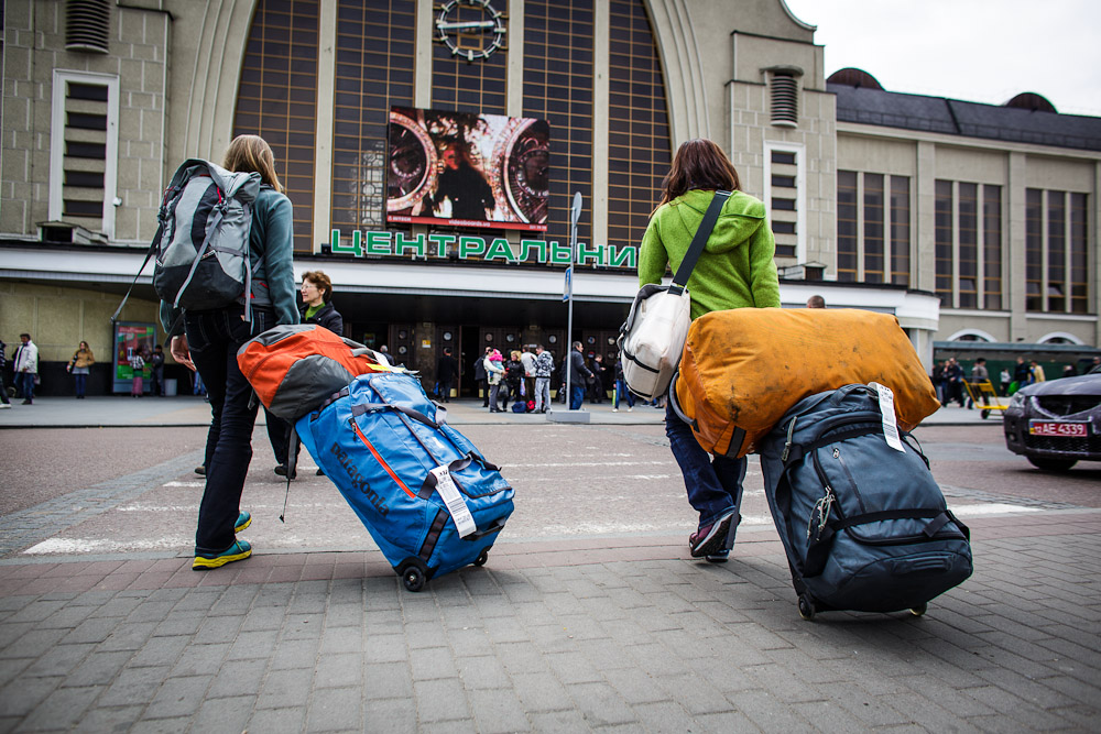 Brittany Griffith and I headed for the train station Kiev, Ukraine. Most photos by Mikey Schaefer