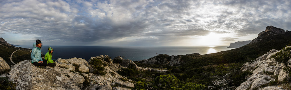 Panorama of the Crimean coast line. Me and Brittany chillin' in the evening light.