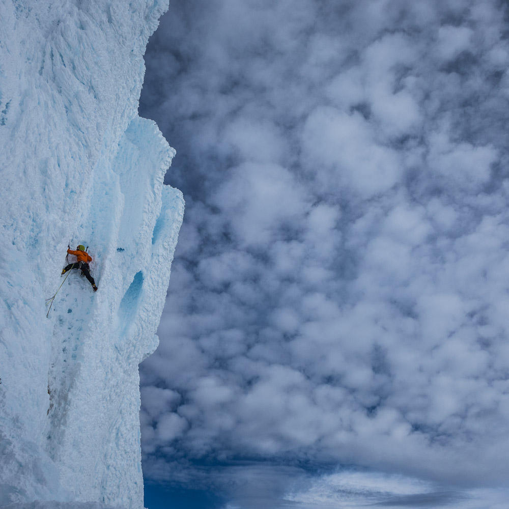 Mikey leads the head wall. Yikes. Cerro Torre is a wild moonscape of rime mushrooms.