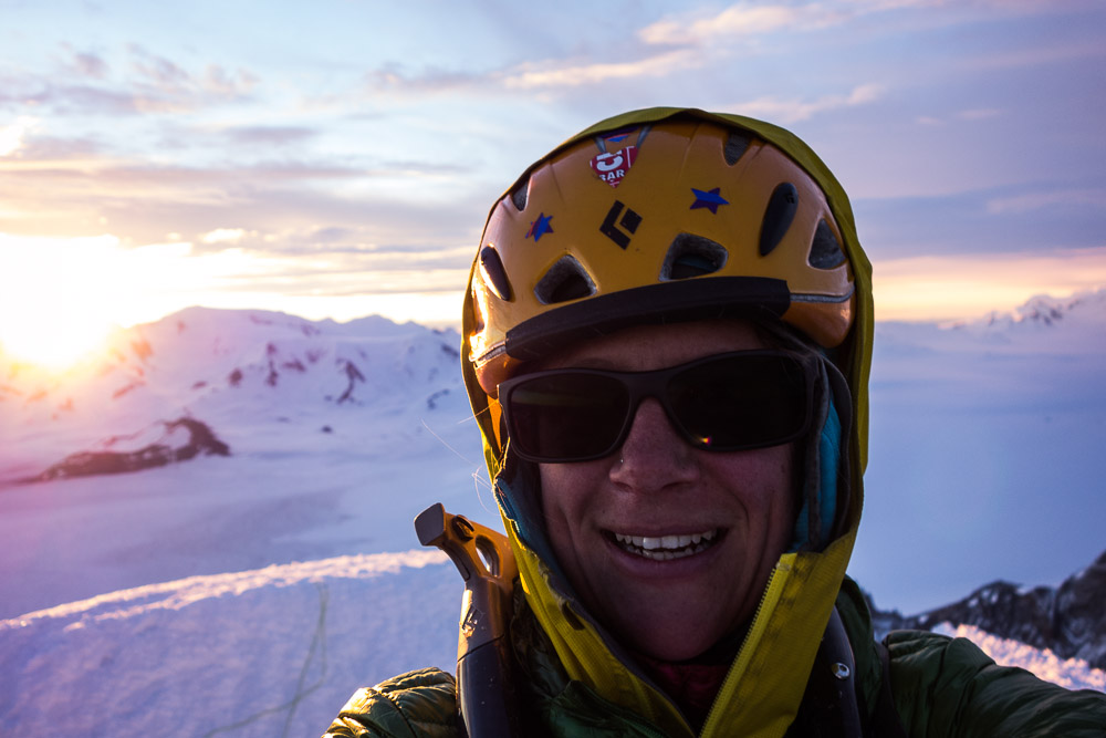 Really big smile on my face. Sure was a fine view out over the ice cap from the top of that pointy spire!
