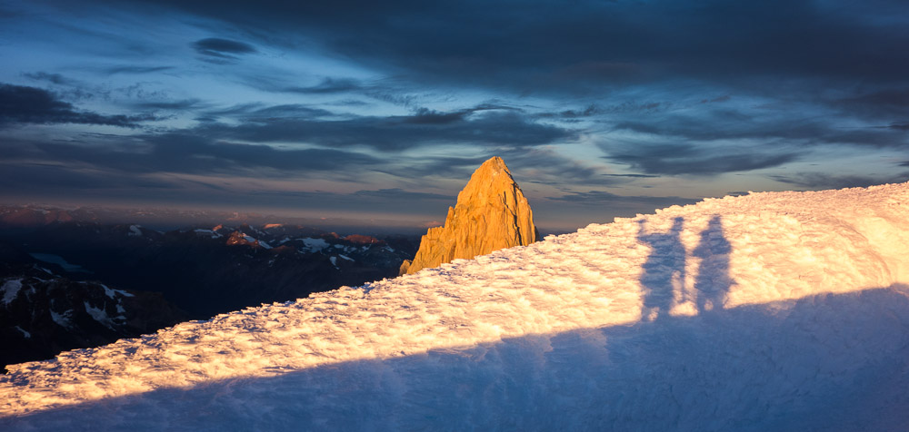 The summit of Cerro Torre, a place I never imagined going. And to see Fitz Roy glowing. I had just been there too. What a huge year.