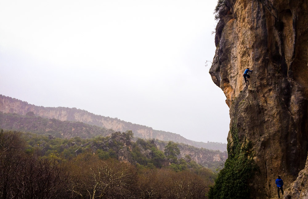 climbing in the fog gilded Trebena cave